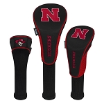 Nebraska Cornhuskers Nylon Graphite Golf Set of 3 Head Covers