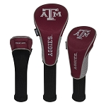 Texas A&M Aggies Nylon Graphite Golf Set of 3 Head Covers