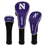Northwestern Wildcats Nylon Graphite Golf Set of 3 Head Covers
