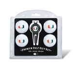 Miami Hurricanes 4 Ball Divot Tool Golf Gift Set