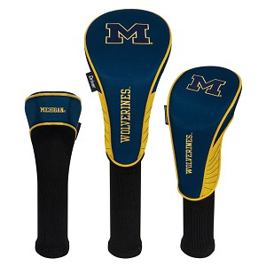 Michigan Wolverines Nylon Graphite Golf Set of 3 Head Covers
