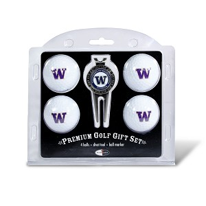 Washington Huskies 4 Ball Divot Tool Golf Gift Set