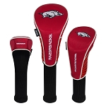 Arkansas Razorbacks Nylon Graphite Golf Set of 3 Head Covers