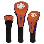 Clemson Tigers Nylon Graphite Golf Set of 3 Head Covers
