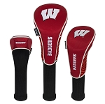 Wisconsin Badgers Nylon Graphite Golf Set of 3 Head Covers