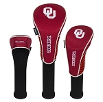 Oklahoma Sooners Nylon Graphite Golf Set of 3 Head Covers