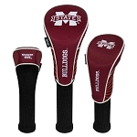 Mississippi State Bulldogs Nylon Graphite Golf Set of 3 Head Covers