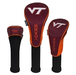 Virginia Tech Hokies Nylon Graphite Golf Set of 3 Head Covers