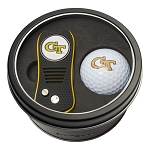 Georgia Tech NCAA Golf Gift Set Switchblade Divot Tool with Double-Sided Magnetic Ball Marker & Golf Ball