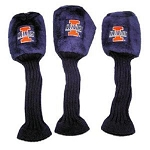 Illinois Fighting Illini Graphite Golf Headcover Set- 3 pieces