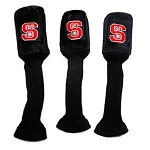 North Carolina State Wolfpack Graphite Golf Headcover Set- 3 pieces