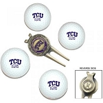 Texas Christian University Horned Frogs 4 Ball Divot Tool Golf Gift Set