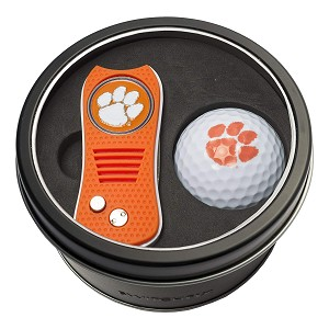 Clemson Tigers NCAA Golf Gift Set Switchblade Divot Tool with Double-Sided Magnetic Ball Marker & Golf Ball